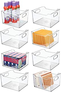 """$74 » mDesign Deep Plastic Home Office Storage Bin Container, Desk and Drawer Organizer Tote with Handles - for Organizing Gel Pens, Erasers, Tape, Pencils, Highlighters, Markers - 10"""" Long - 8 Pack - Clear"""