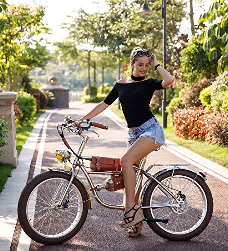 Shengmilo 24-Zoll-Elektro-Citybike Retro-Leder Design für Herren und Damen