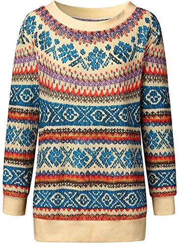 XIUSHANG Women's Color Block Sweaters Crew Neck Stitching Printing Pullover Jumper Blouse Knitted Sweater
