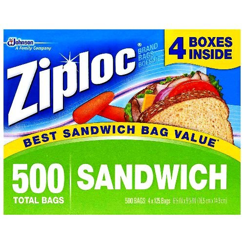 Ziploc Easy Open Tabs Sandwich Bags 125 Count (Pack of 4)