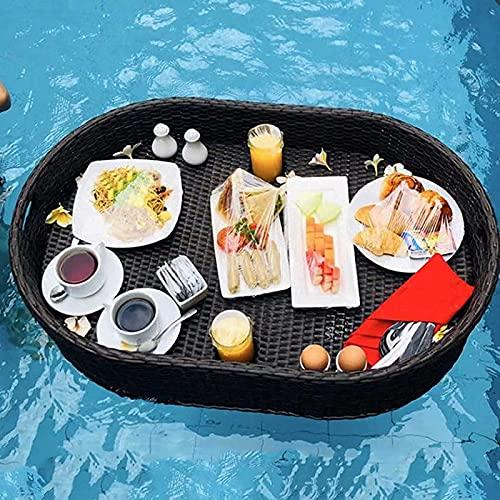 Bandeja de ratán con asa, plato de cena rectangular ovalado, bandeja de servicio flotante de lujo, mesa, bandeja de comedor de ratán resistente y resistente al agua para piscina o fiesta en la playa