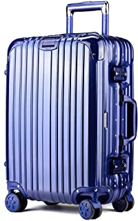 WHPSTZ Trolley Case Aluminum Frame with Telescopic Button Handle Fashion Trolley Case Luggage Universal Wheel 20 Inch Boarding Trolley case (Color : Blue, Size : 24 inches)