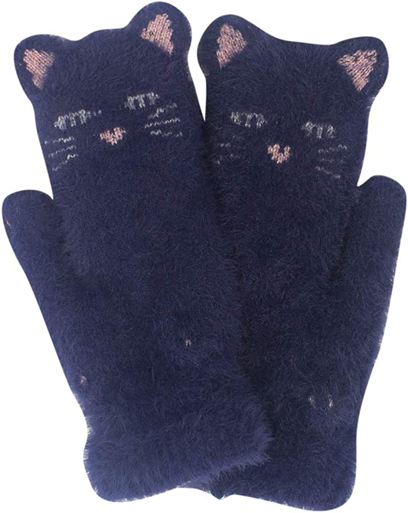 Women Winter Faux Fur Mittens Cartoon Animal Cat Face Mittens Soft Fluffy Warm Fleece Lining Gloves for Girls Lady