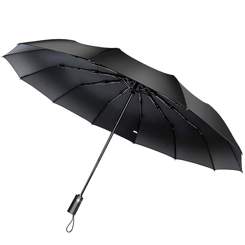 ピルチャーム外側折りたたみ傘 自動開閉 な12本骨 耐強風 超撥水高強度グラスファイバー 梅雨対策 晴雨兼用 (ブラック)