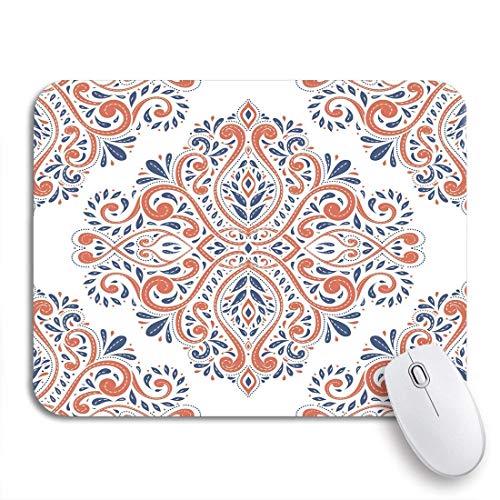 Gaming mouse pad blau und orange auf paisley traditionelle türkische indische motive rutschfeste gummiunterlage computer mousepad für notebooks mausmatten