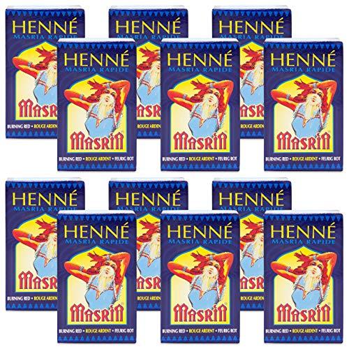 Hennedrog - Henna Masria feurigrot 12er Pack (XXL) - Haarfärbemittel auf pflanzlicher Basis in rot 12 x 90 g