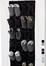 Gorilla Grip Over The Door Mesh Pocket Shoe Organizer, 24 Large Breathable Durable Pockets, Hooks for Hanging on Closet Doors, Storage Rack, Organizers for Shoes, Sneakers and Accessories, Black