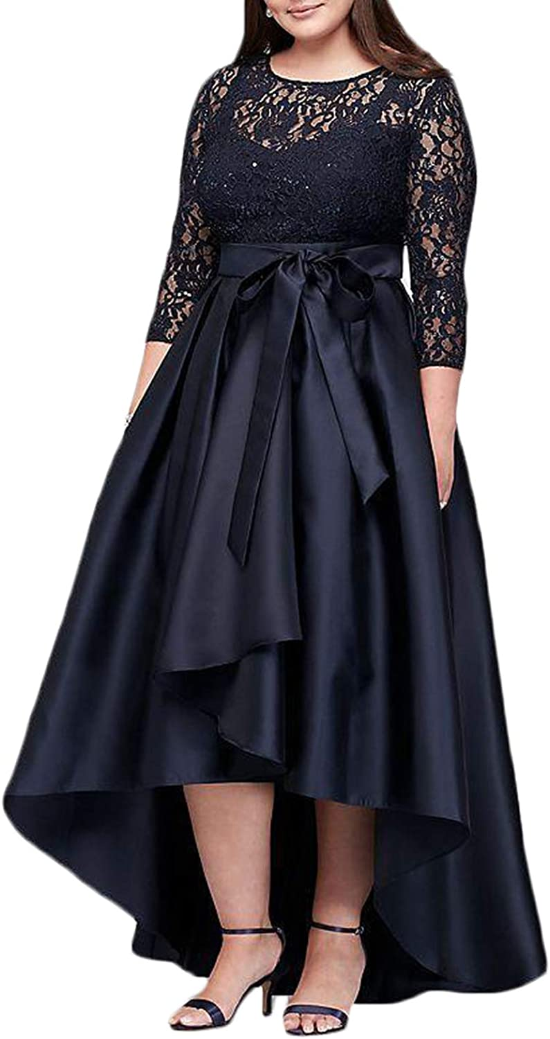 CIRCLEWLD Hi Lo Prom Dresses for Women Long Sleeves Lace Satin Plus Size Formal Evening Gown E184