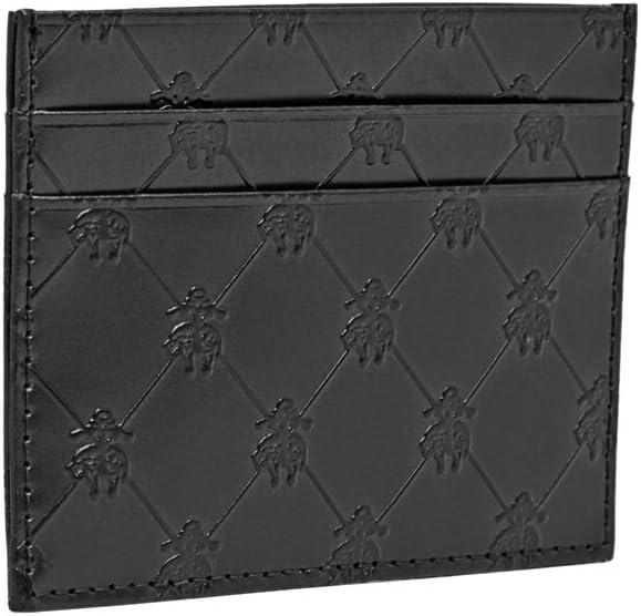 Brooks Brothers Mens Embossed Golden Fleece Genuine Leather Credit Card Wallet (Black)