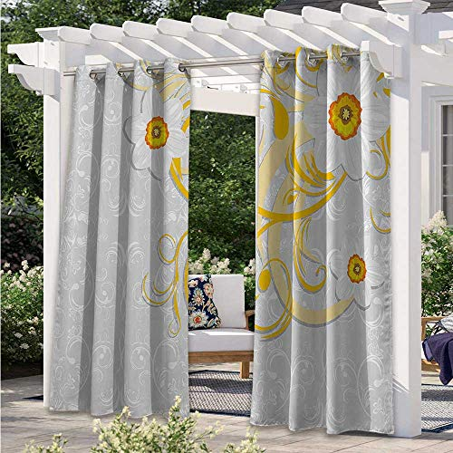 Adorise Blackout Curtains Daffodils on Ornate Background Floral Repeating Swirling Curves Spring Time Patterns Pergola Outdoor Drapes Durable, Water-Resistant, Opaque Grey Yellow W55 x L72 Inch