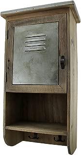 Zeckos Rustic Reclaimed Wood Wall Cabinet w/Shelf and Hooks 20 in.