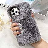 for iPhone 11 Pro Max Case Cute Girly Faux Fur Case with Chic Bling Crystal Diamond Bowknot Flexible Silicon Soft Fluffy Furry Shockproof Protective Phone Case for iPhone 11 Pro Max Grey