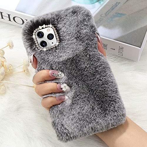 L-FADNUT for iPhone 11 Pro Max Case Cute Girly Faux Fur Case with Chic Bling Crystal Diamond Bowknot Flexible Silicon Soft Fluffy Furry Shockproof Protective Phone Case for iPhone 11 Pro Max Grey