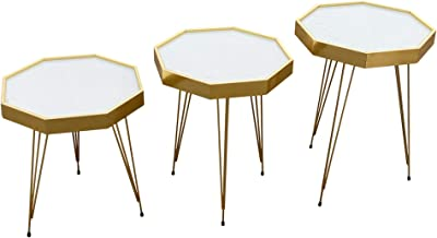Coffee and tea service table set metal legs (Gold Creamy Surface)