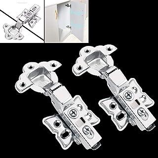 Bisagras de puerta de armario de cocina de cierre suave con tornillos, bisagras de acero inoxidable, 2 unidades