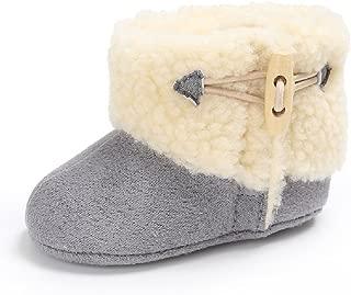 Winter Warm Baby Boots Premium Soft Sole Prewalker Newborn Infant Boy Girl Crib Shoes Snow Boots(Large / 12-18 Months,Gray)