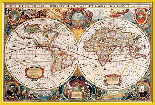 Empire Interactive Cartes Poster Carte du monde antique + accessoires Kunststoff-Rahmen Gelb