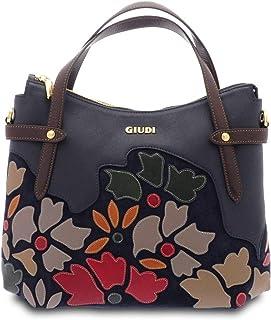 GIUDI ® - Borsa a mano donna in pelle vitello, applicazione petali, borsa a mano, vera pelle,Made in Italy. (Blu)