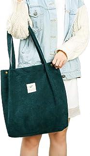 JISEN Corduroy Tote Bag für Damen Mädchen Große Wiederverwendbare Tragetasche Schultertasche mit Innentasche A-Grün