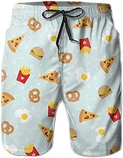 RAINNY ZR-Go Men's Cute Cookies Pattern Quick-Dry Summer Beach Surfing Board Shorts Swim Trunks Cargo Shorts