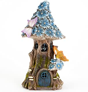 Bits and Pieces - Solar Butterfly and Blue Daisies Fairy House - Unique Lawn and Garden Décor