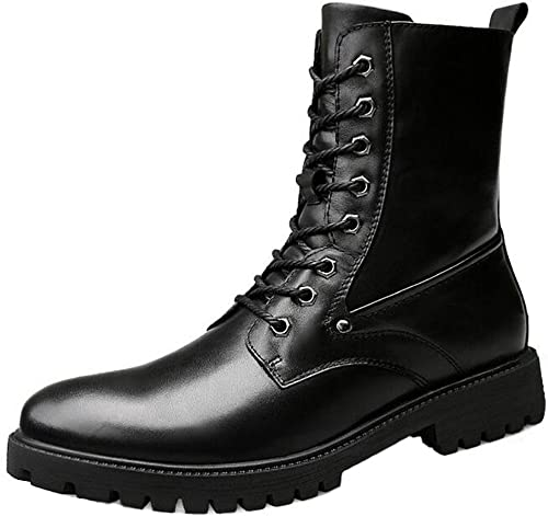 SYYAN Hommes Cuir Véritable Hiver De Plein air Garder au Chaud Plus Cachemire Aide Elevée Bottes Noir , noir , 38