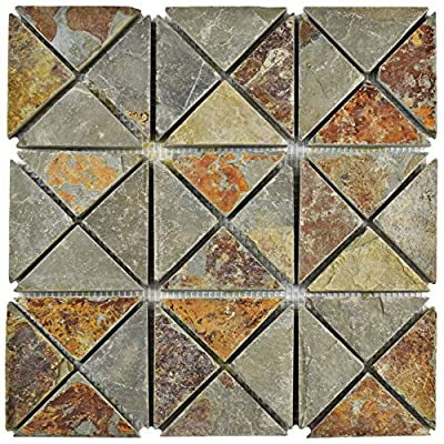 """SomerTile SCRTSSS Cliff TriSquare Sunset Slate Natural Stone Mosaic Floor and Wall Tile, 12"""" x 12"""", Grey/Brown/Red/Orange/Green"""