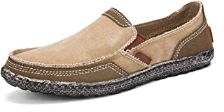 2019 Mens Loafers Casual Breathable Canvas Driving Loafer for Men Splicing Simple Pure Color Round Toe Shoes (Color : Apricot, Size : 10 UK)