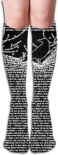 Unisex The Raven by Edgar Allan Poe Design Elastic Long Socks Compression Knee High Socks (50cm) for Sports, Running, Travel