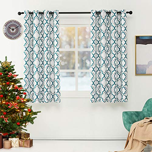 Lofus Blackout Curtains with Moroccan Pattern, Living Room Thermal Insulated, Room Darkening Blackout Grommet Top Curtains for Bed Room, W52 x L63 inches, Teal Blue (2 Panel)