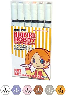 Deleter Neopiko-2 Refillable Dual-Tip Alcohol Marker Set of 6 [ Hobby Set ] for Professional Comic Manga Graphic Illustration …