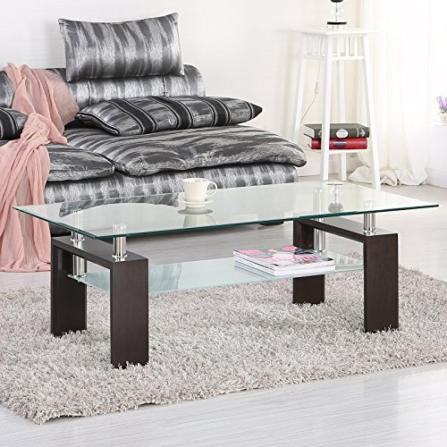 Mecor Rectangle Glass Coffee Table-Walnut Modern Side Coffee Table with Lower Shelf, Wooden Legs-Suit for Living Room