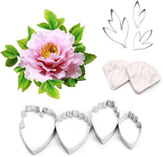 AK ART KITCHENWARE 7Pcs Stainless Steel Peony Cutter 2 Pcs Silicone Veining Mold Veiner Petal Texture Tool Gumpaste Flower Making Tool A356/A339&VM060
