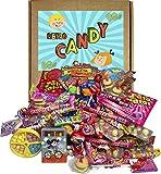 Caja de Dulces Retro Años 80s y 90s. Regalo de Cumpleaños, Navidad, Aniversario, Fiesta para Niños y Mayores. 100 Caramelos y Golosinas para Nostálgicos.