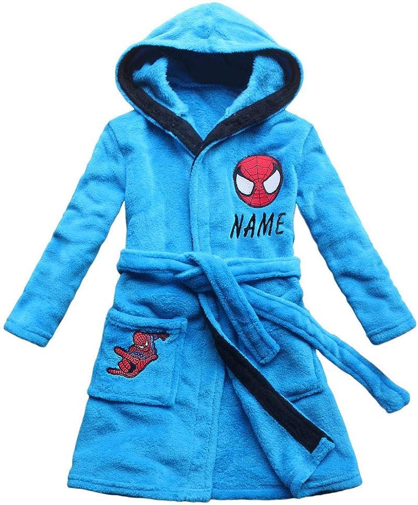 2017 New Spider Pattern Boys Cartoon Children Lengthened Bathrobe Robe Gown Home
