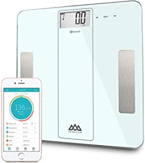 SENSSUN Bluetooth Smart Body Fat Scale, Digital Bathroom Scale, BMI Weighing Scales Body, Body Composition Analyzer with iOS and Android APP-White