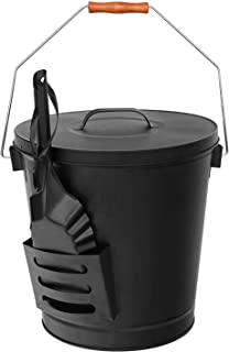 Epetlover 5.15 Gallon Round Ash Bucket with Lid and Shovel- Tools for Fireplaces, Fire Pits, Wood Burning Stoves-Hearth, Black