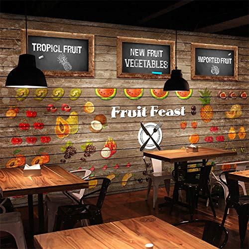 WGBHQ Tienda De Frutas Restaurante Café Heladería Mural Arte De La Pared Habitación De Los Niños Dormitorio Sala De Estar Tv Pared Fondo Foto Decoración Autoadhesivo Papel Tapiz Mu(W)450x(H)300cm