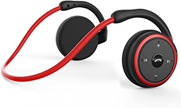 Small Bluetooth Headphones Behind The Head, Sports Wireless Headset with Built in Microphone and Crystal-Clear Sound, Fold-able and Carried in The Purse, and 12-Hour Battery Life, red