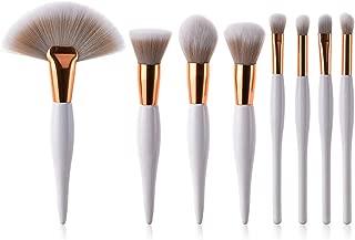 8 pcs Professional Makeup Brushes Set Foundation Eyeshadow Eyeliner Lip Brush Tool White Black,WH