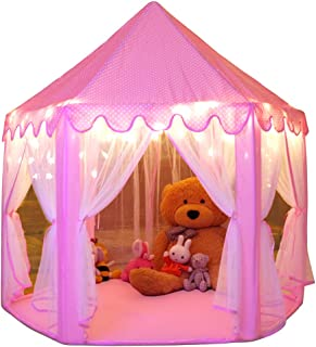 Monobeach Princess Tent Girls Large Playhouse Kids Castle Play Tent with Star Lights Toy..