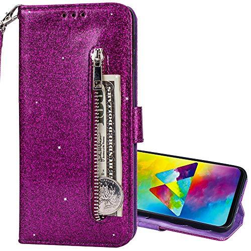 Nadoli Glitzer Handyhülle für Galaxy M30,Reißverschluss Kartentaschen Entwurf Hell Glänzen Magnetverschluss Flip Bling Schutzhülle Etui im Brieftasche-Stil für Samsung Galaxy M30