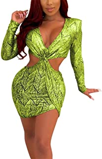 Remelon Women`s Sexy Bodycon Club Dress Long Sleeve V Neck Cutout Print Elasticity Mini Cocktail Dresses