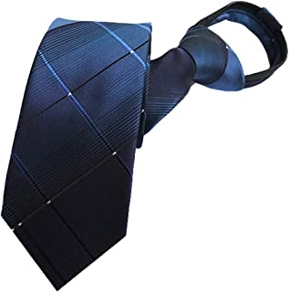 MENDENG Zipper Ties for Men Zip Necktie Woven Silk Pre-tied Neck Tie Comfortable
