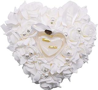 Cuscino per Fedi Nuziali-JPYZ 23 * 22cm Bianco Romantico Matrimonio Anello,Elegante Cassa Gioielli Floral Accessori da Spo...
