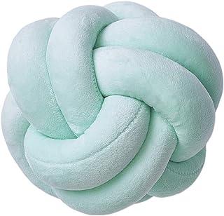 prasku Almohada con Nudo de Bola Almohadas Cojín 22cm Decoración de Dormitorio Cojines - Verde, Individual