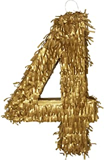 Aurabeam Golden Number 0 to 9 Pinatas the perfect decoration for Prom, Anniversary, Birthday or any Party Celebration - Handcraft in Mexico (19x11x3) (Four)
