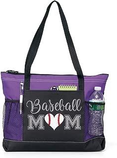 Baseball Mom Sports Tote in Silver Glitter (nh)