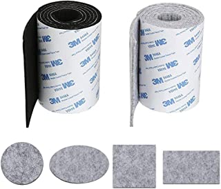 KINDPMA 2 Rollo Cinta Fieltro Adhesivo Antideslizante Almohadillas Fieltro Adhesivo Muebles para Protección Muebles Florero Madera Piso Mesa Silla Cama Armario Negro Gris 100 CM x 10 CM x 3MM