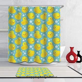 Art Shower Curtain,Waterproof FabricBathroom Curtain Set Non-Slip Floor Doormat Bath Rugs,(69